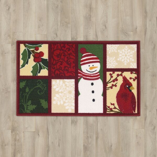 Snowman & Cardinal Red Area Rug by The Holiday Aisle