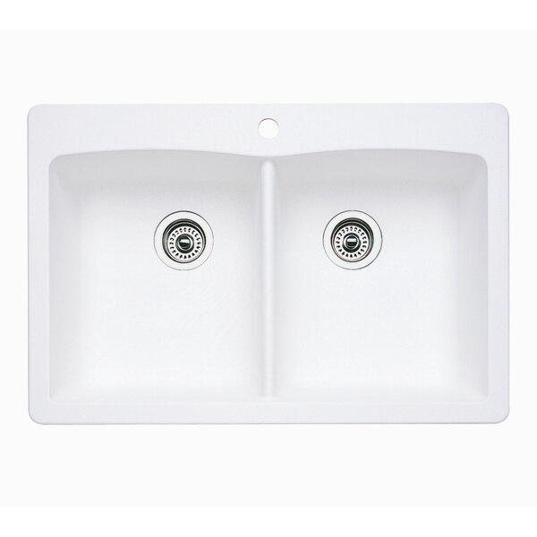 Diamond Equal Bowl 33 L x 22 W Double Basin Dual Mount Kitchen Sink by Blanco