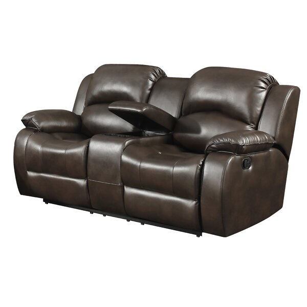 Low Cost Miramar Leather Reclining Loveseat by Alcott Hill by Alcott Hill