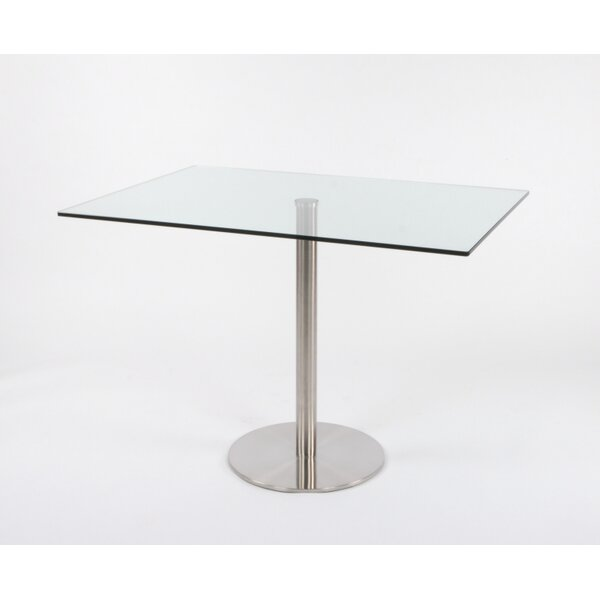 Schroeders Pedestal Glass Dining Table by Orren Ellis