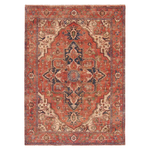 Serapi Hand-Knotted Wool Red/Blue Area Rug by Exquisite Rugs