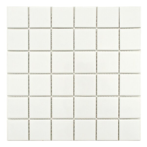Retro Quad 2 x 2 Porcelain Mosaic Tile in Glossy White by EliteTile