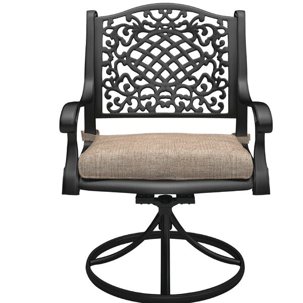 Cearley Swivel Patio Dining Chair with Cushion by Fleur De Lis Living