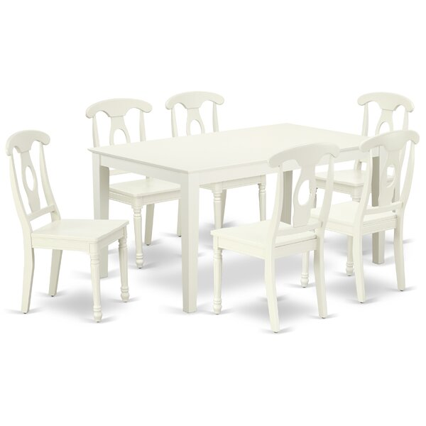 Lagasse 7 Piece Solid Wood Dining Set by August Grove
