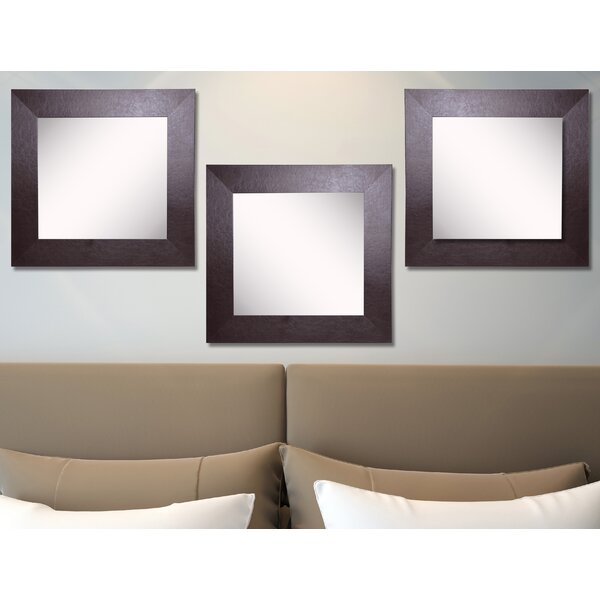 Waite Wide Leather Wall Mirror (Set of 3) by Ebern Designs