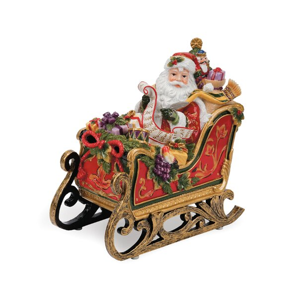 Regal Holiday Santa In Sleigh Musical Figurine by Fitz and Floyd