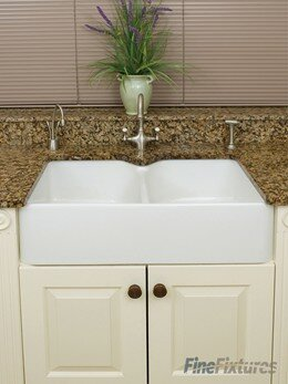 Fireclay 31.25'' x 19.25 Berrington Double Bowl Kitchen Sink by Fine Fixtures