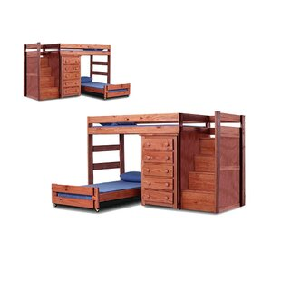 Chery Staircase Twin Over Twin L-Shaped Bunk Bed with Drawers by Harriet Bee
