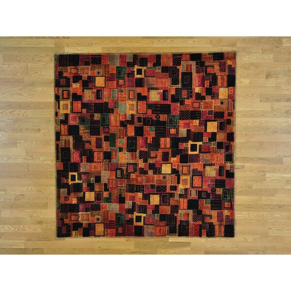 One-of-a-Kind Becker Patchwork Handwoven Black/Orange Wool/Silk Area Rug by Isabelline