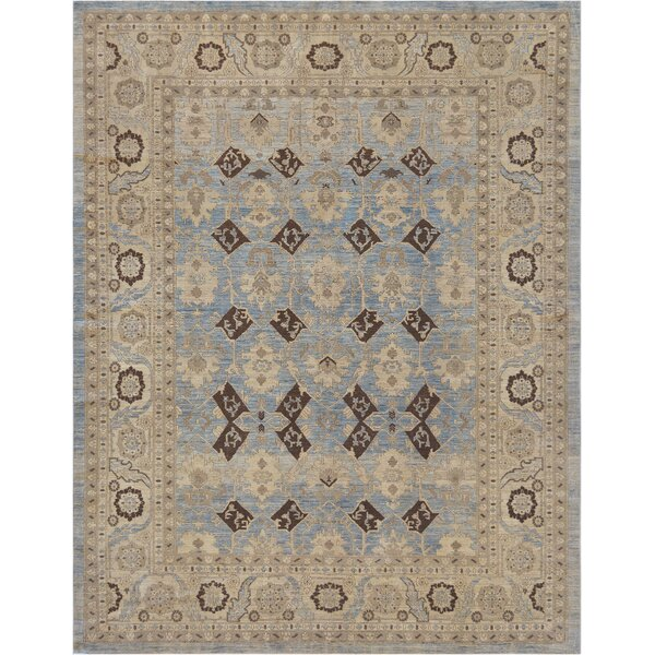 One-of-a-Kind Genuine Handwoven Wool Blue Indoor Area Rug by Mansour