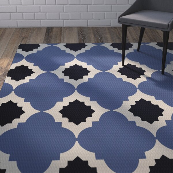 McGuinness Geometric Print Navy Blue Indoor/Outdoor Area Rug by Wrought Studio