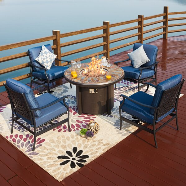 Bonanno 5 Piece Multiple Chairs Seating Group with Cushions by Darby Home Co Darby Home Co