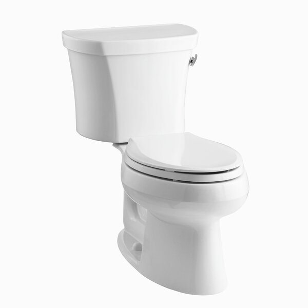 Wellworth Two-Piece Elongated 1.28 GPF Toilet with Class Five Flush Technology and Right-Hand Trip Lever by Kohler