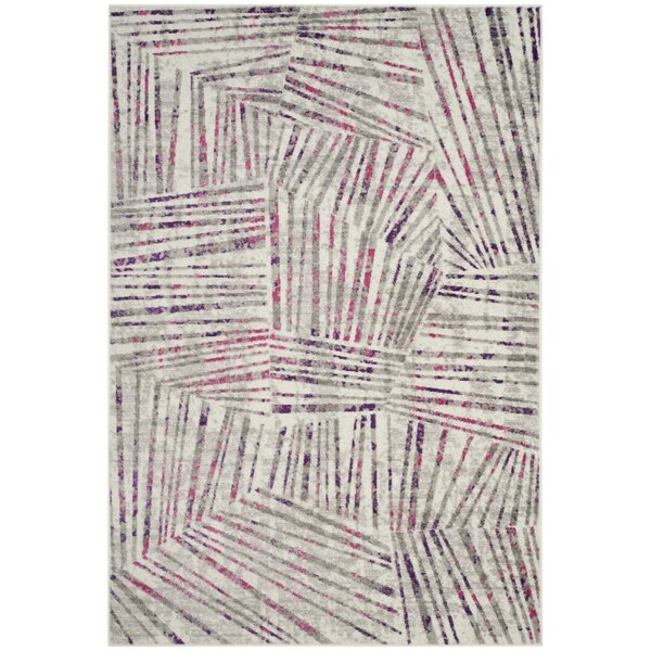 Cosner Power Loomed Gray/Pink Area Rug by Corrigan
