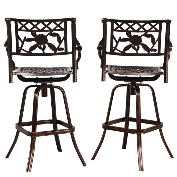 Thorne Rose Cast Aluminum 30 Patio Bar Stool (Set of 2) by Fleur De Lis Living
