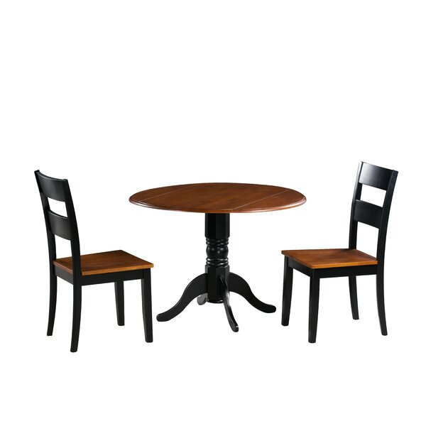 Chesterton Traditional 3 Piece Solid Wood Dining Set by Alcott Hill