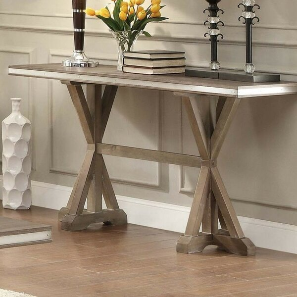 Krajewski Metal Banded Wooden Rectangular Console Table by One Allium Way