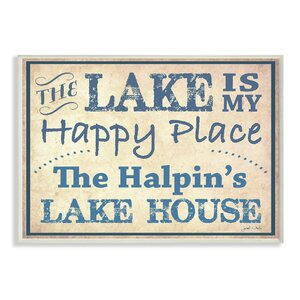 Personalized Lake House The Lake is my Happy Place by Janet White Textual Art Plaque by Stupell Industries