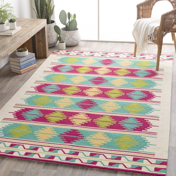 Pelchat Hand Hooked Green/Pink/Blue Rug