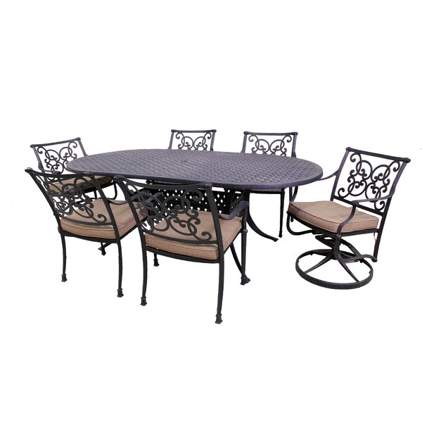 Elzada 7 Piece Sunbrella Dining Set with Cushions by Fleur De Lis Living