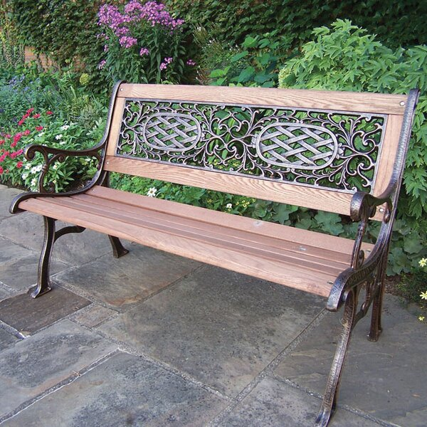 Mississippi Wood and Cast Iron Park Bench by Oakland Living