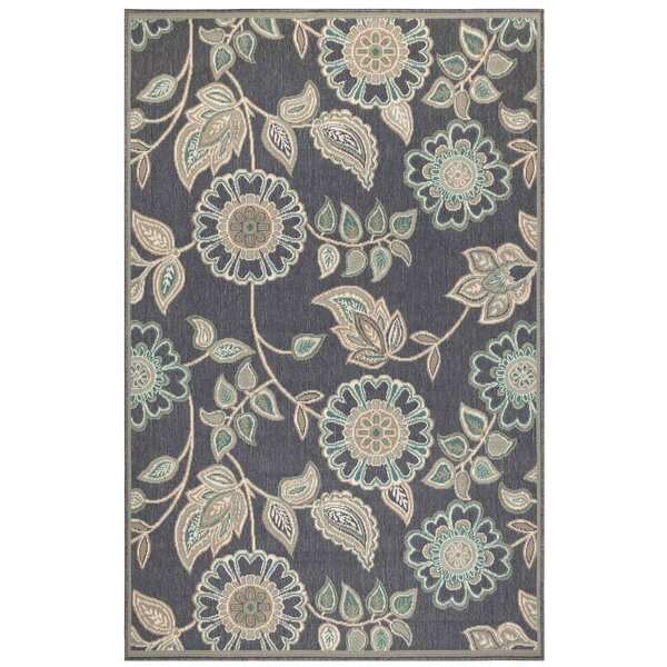 Shannen Floral Vine Navy Indoor/Outdoor Area Rug by Charlton Home