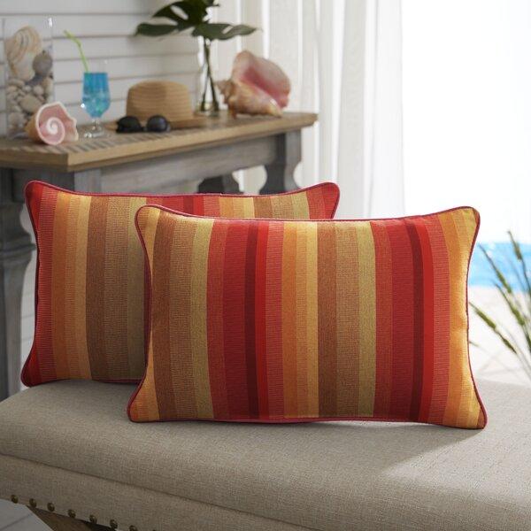 Bien Sunbrella Astoria Sunset Stripe Outdoor Lumbar Pillow (Set of 2)