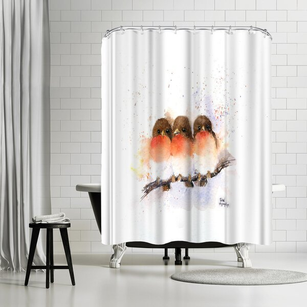 Rachel McNaughton Cute Robins Shower Curtain by East Urban Home
