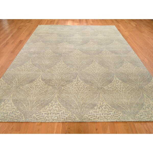 One-of-a-Kind Hand-Knotted Brown 8'10 x 12'1 Silk Area Rug
