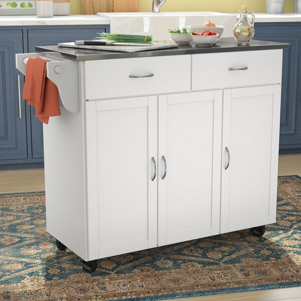 Garrettsville Kitchen Cart with Stainless Steel Top by Red Barrel Studio