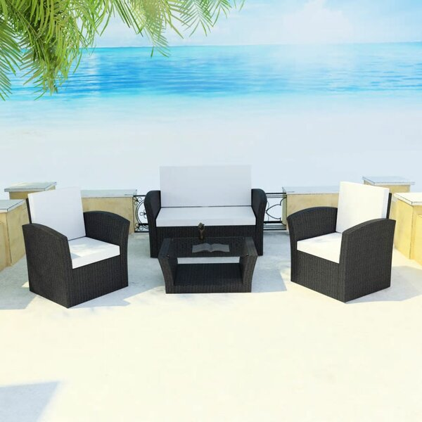 Thornaby Garden 4 Piece Rattan Sofa Seating Group with Cushions by Ivy Bronx