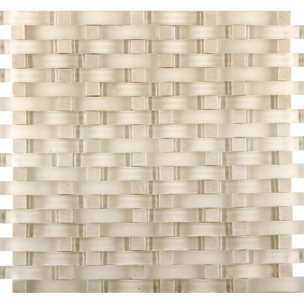 Lucente 12 x 13 Glass Stone Blend Wave Mosaic Tile in Campo by Emser Tile