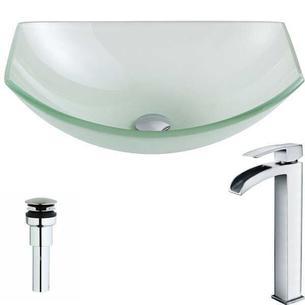 Pendant Glass Specialty Vessel Bathroom Sink with Faucet by ANZZI