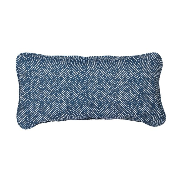 Stella Navy Herringbone Indoor/Outdoor Lumbar Pillow (Set of 2) by Mozaic Company
