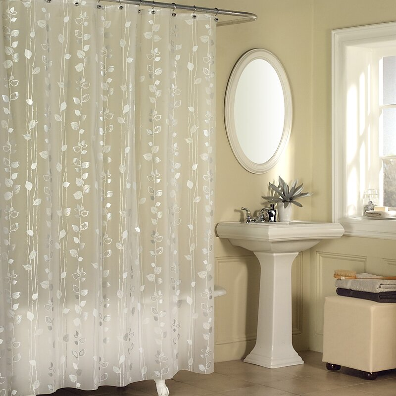 White Shower Curtain Silver Stars /& Flowers NEW