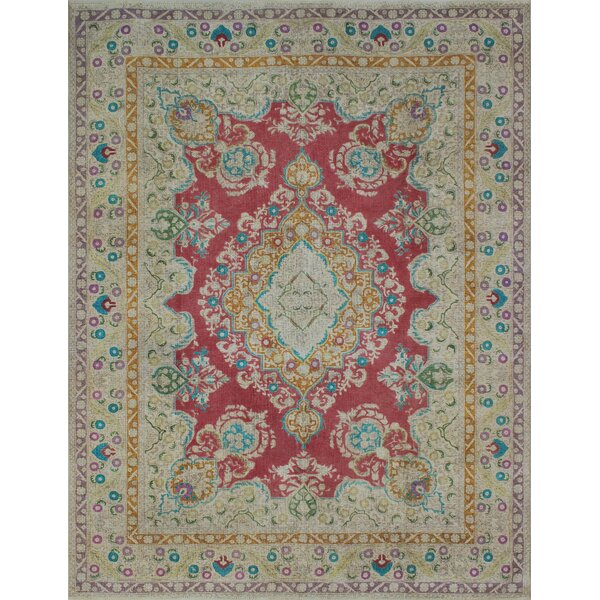 Carriage Hill Vintage Distressed Overdyed Hand Knotted Wool Red Area Rug by Bloomsbury Market