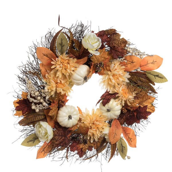 Aaru Pumpkin 24 Wreath by August Grove