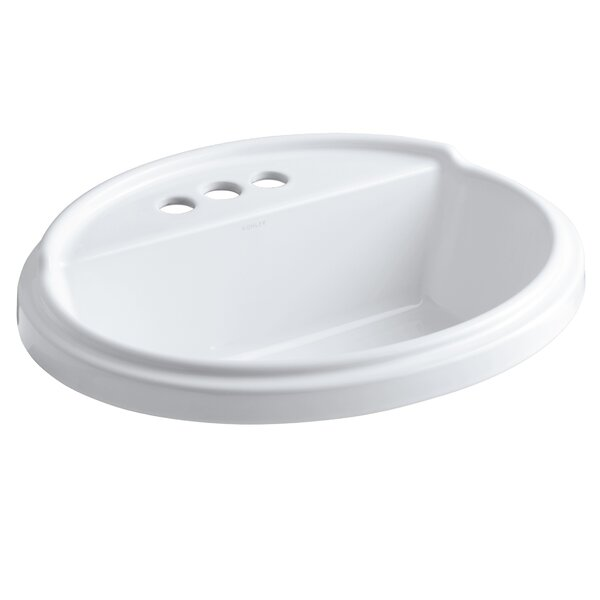 Tresham® Ceramic Oval Drop-In Bathroom Sink with Overflow by Kohler