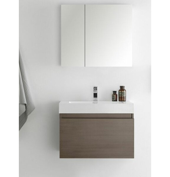 Senza 30 Mezzo Single Wall Mounted Modern Bathroom Vanity with Medicine Cabinet by Fresca