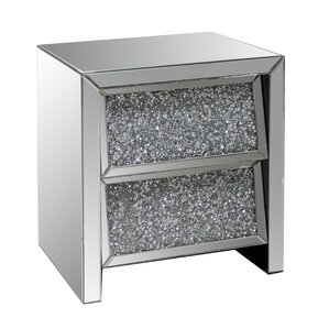 2 Drawer Crystal Mirror End Table by Best Qu..