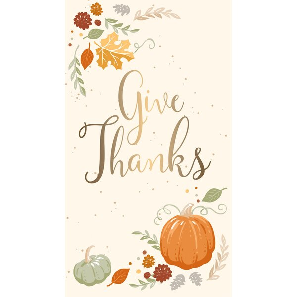 Mikhail Metallic Give Thanks Hand Towel (Set of 15) by August Grove