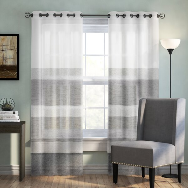 Augustus Striped Sheer Grommet Single Curtain Panel by Langley Street