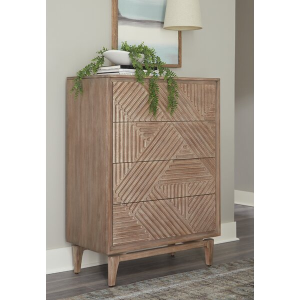 Vanowen 4-Drawer Chest Sandstone by Bungalow Rose