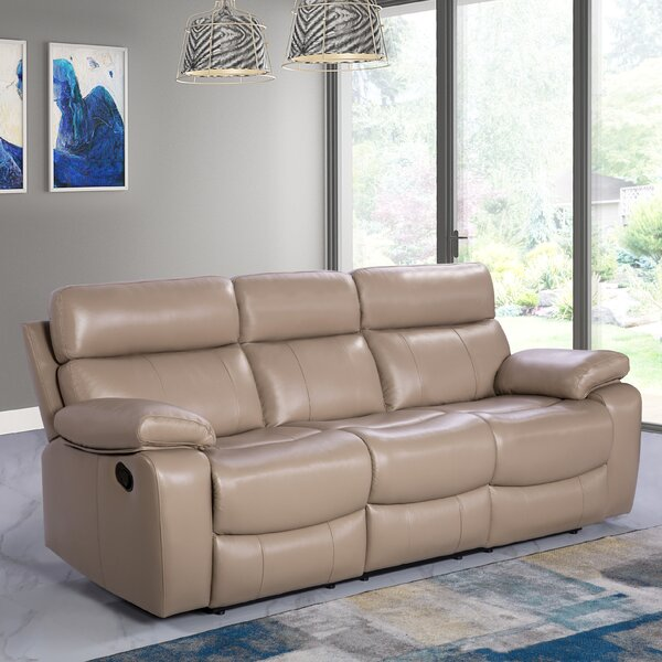 Modern Collection Mellor Leather Reclining Sofa by Red Barrel Studio by Red Barrel Studio