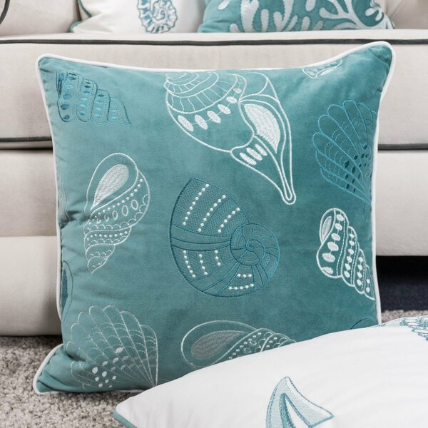 Farnham Embroidery Seashell Velvet Throw Pillow by Highland Dunes