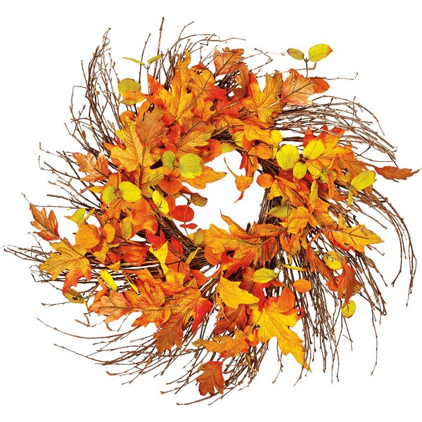 Wild Fall Leaf Twig 24 Wreath by Alcott Hill