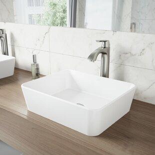 Big Save VIGO Matte Stone Rectangular Vessel Bathroom Sink with Faucet By VIGO