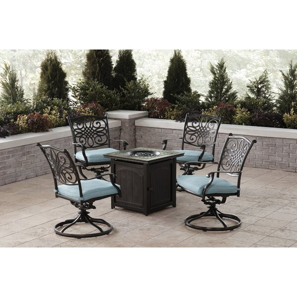 Carleton 5-Piece Fire Pit Chat Set in Blue with 4 Swivel Rockers and a 26-In. Square Fire Pit Table by Fleur De Lis Living
