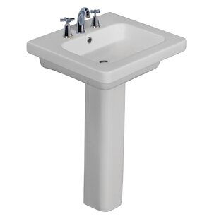 Online Reviews Resort Vitreous China Pedestal Bathroom Sink with Overflow By Barclay