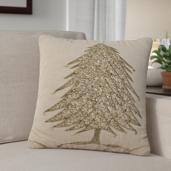 Sapin de Noël Cotton Throw Pillow by The Holiday Aisle